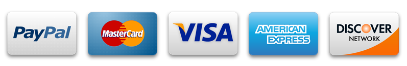 Credit Cards - We Accept PayPal, MasterCard, Visa, American Express and Discover